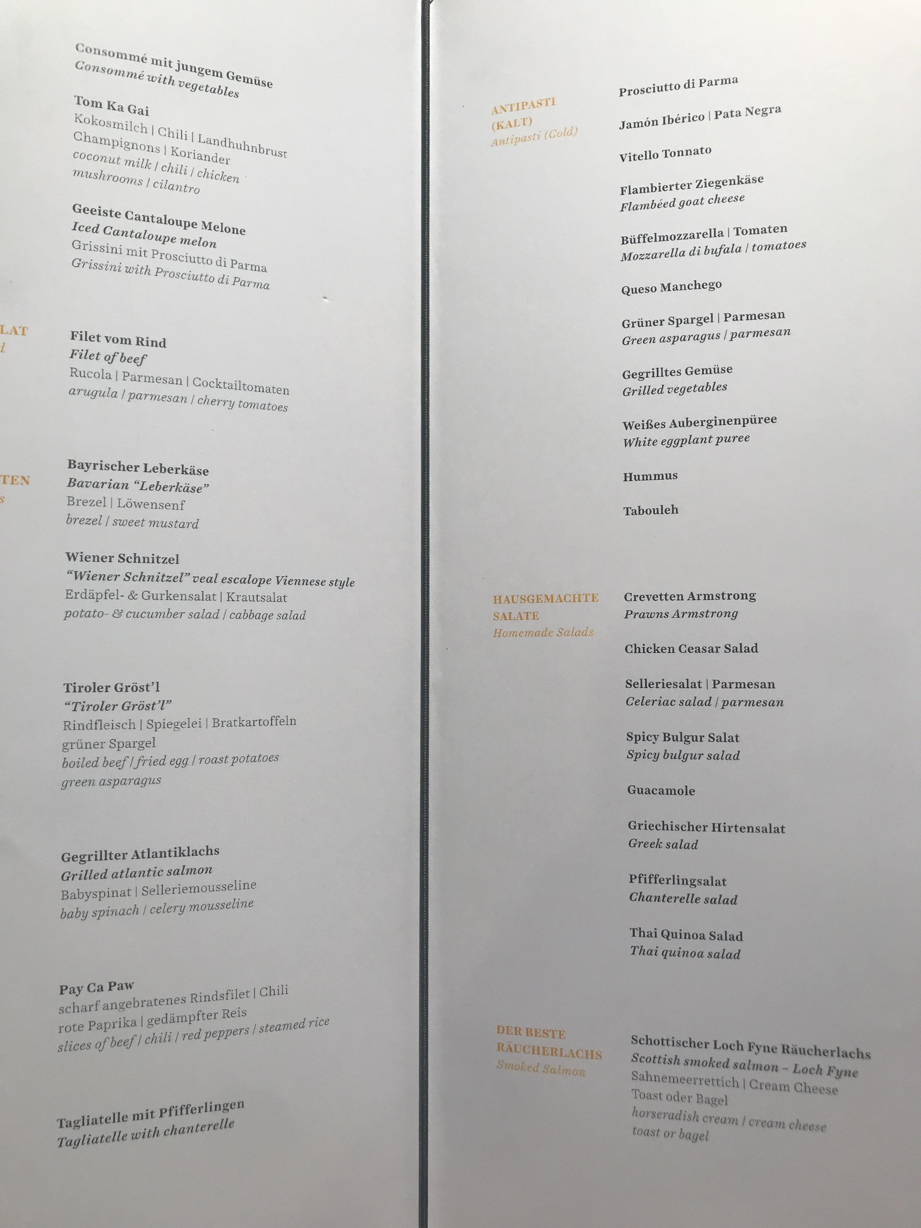 Lounge menu
