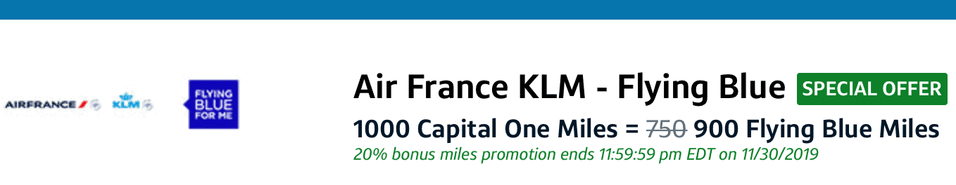 capital one air france transfer bonus