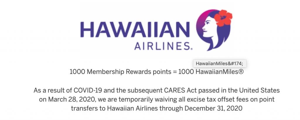 hawaiian amex transfer excise fee