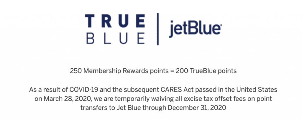 jetblue amex transfer excise fee