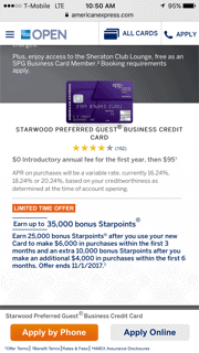 SPG Starwood Preferred Guest Business Amex 35,000 signup bonus