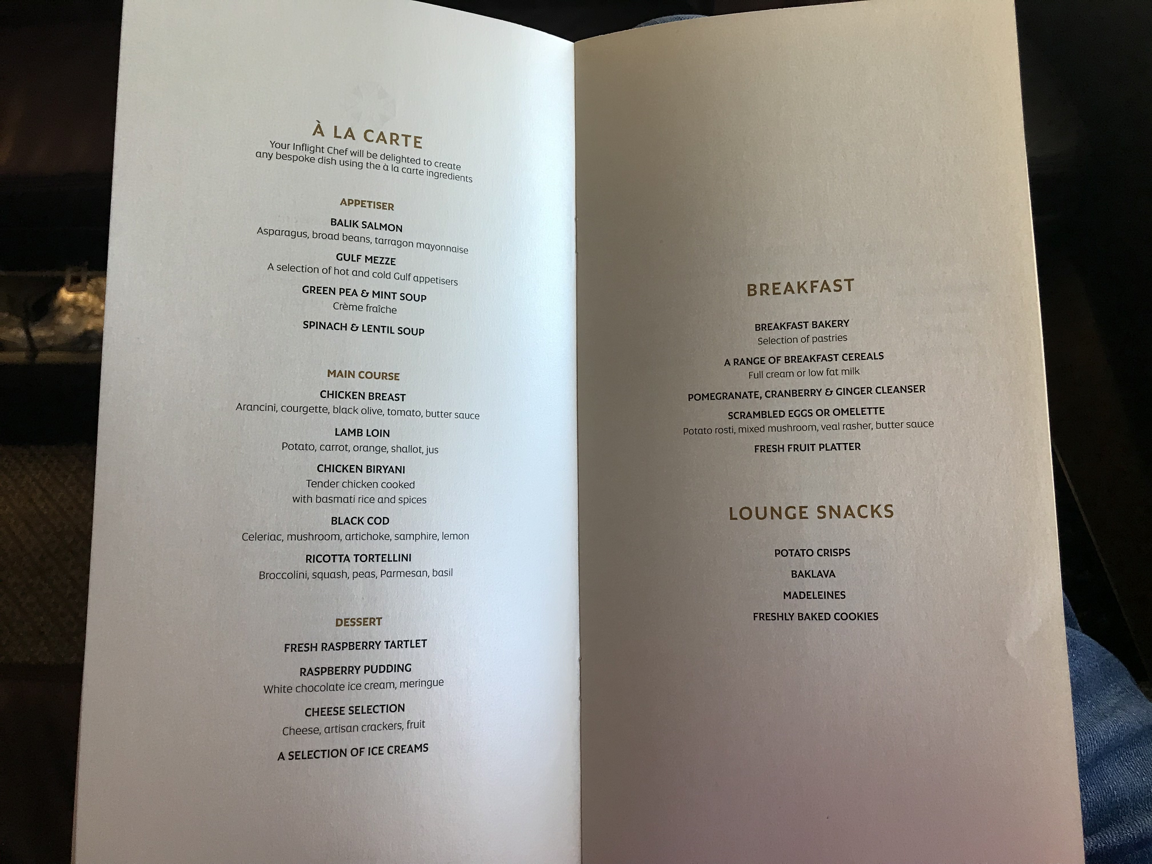 etihad first class apartment menu