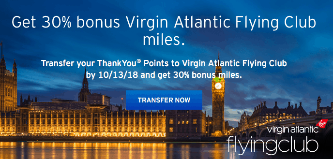 30% trnsfer bonus citi thankyou virgin atlantic