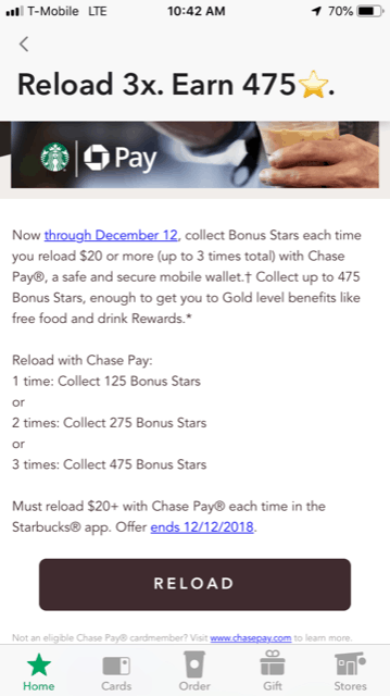 Starbucks: Almost 4 free drinks + 5x UR points with ChasePay