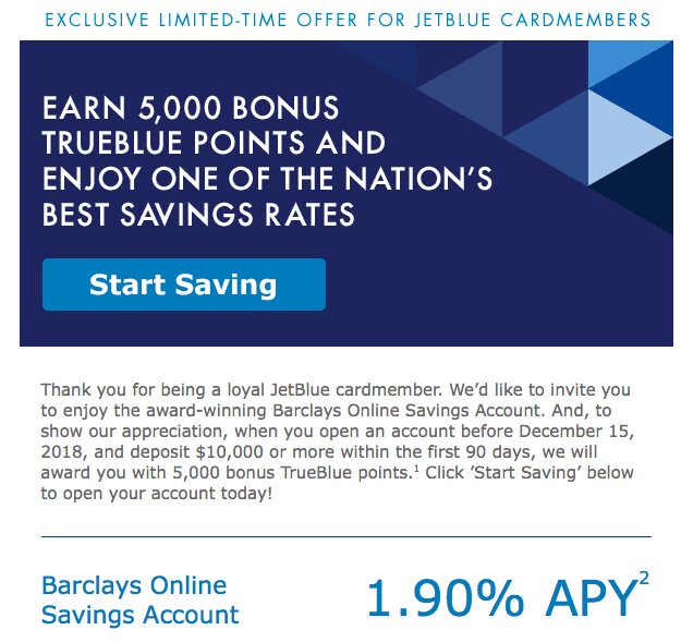 5,000 JetBlue Points With $10k Barclay Savings Account