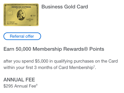 NEW: 50,000 Point Signup Offer - Amex Business Gold Card | MilesTalk