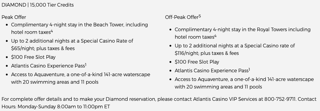 Free Atlantis Stay via Caesars Total Rewards Diamond: What