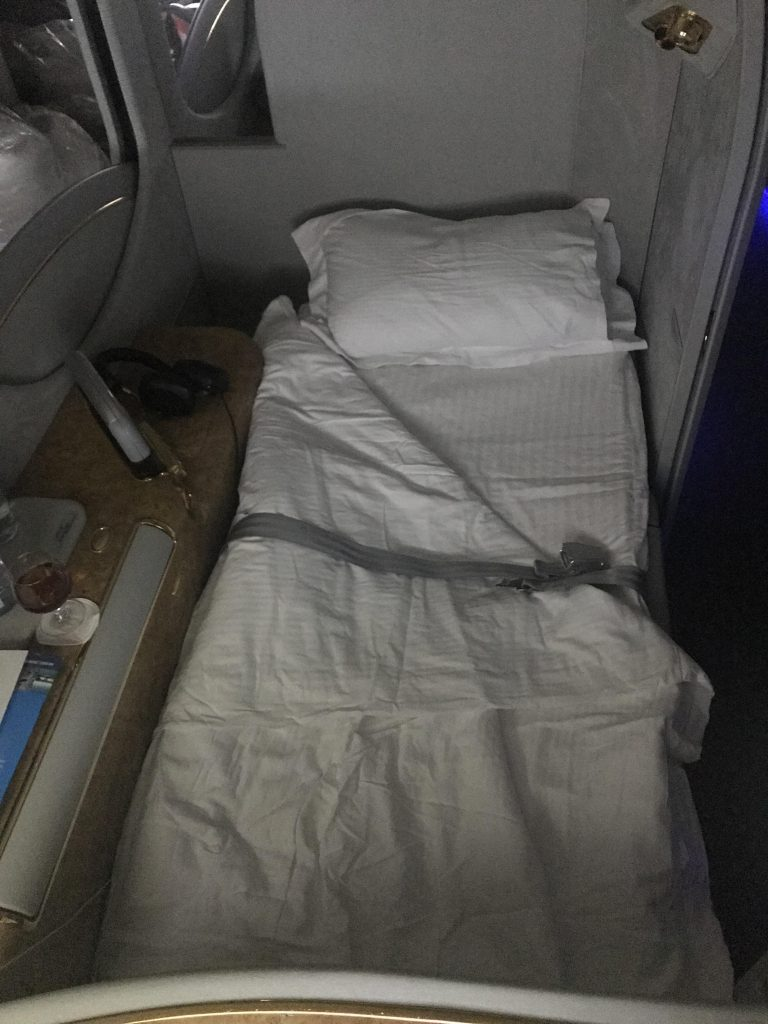 Emirates First Class (A380) bed