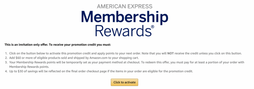 amazon $30 off $60 American express