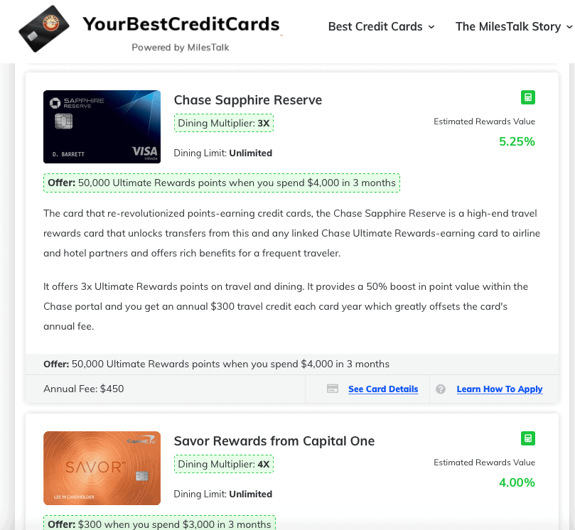 best credit cards for dining