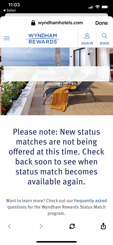 wyndham pauses status matches