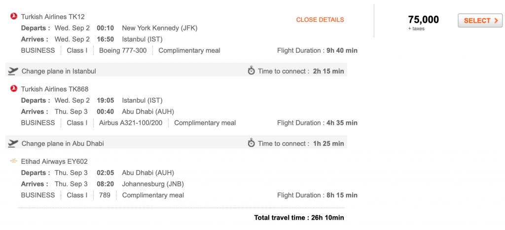 sample etihad routing on aeroplan