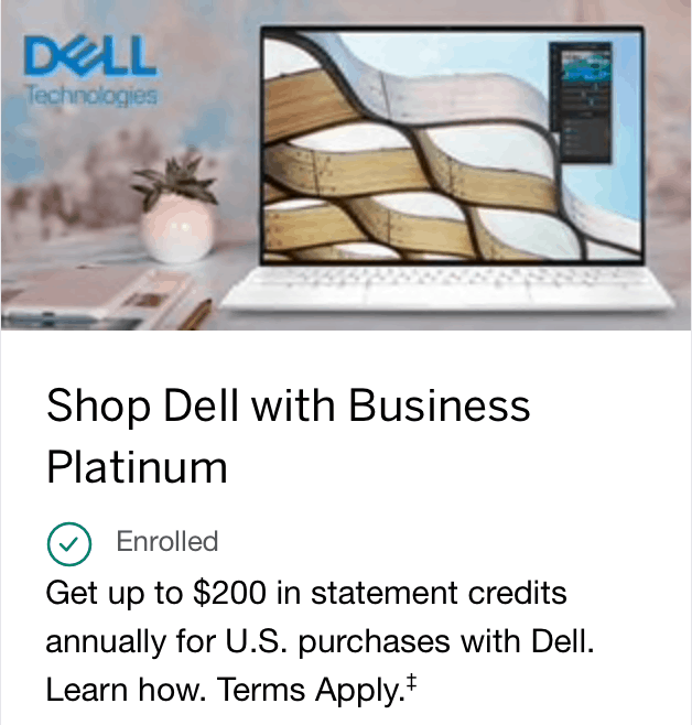 amex business platinum $200 dell credit