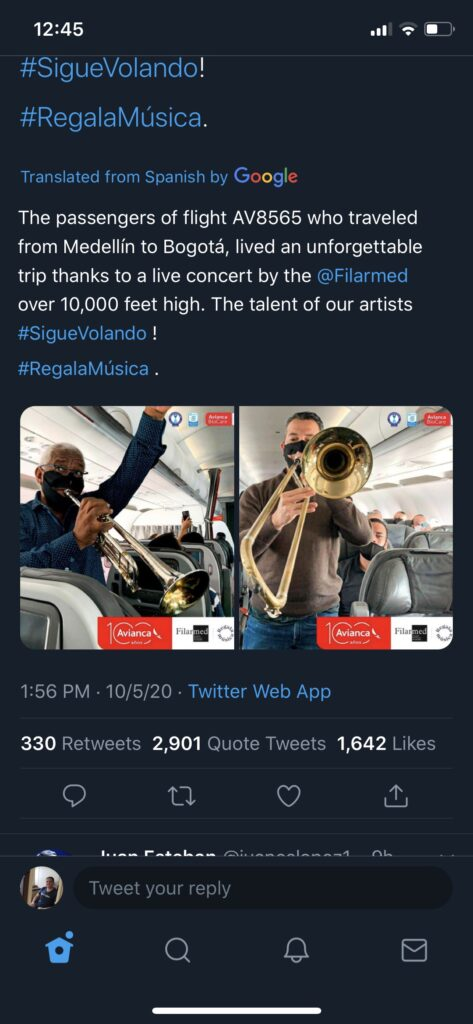 avianca band on board