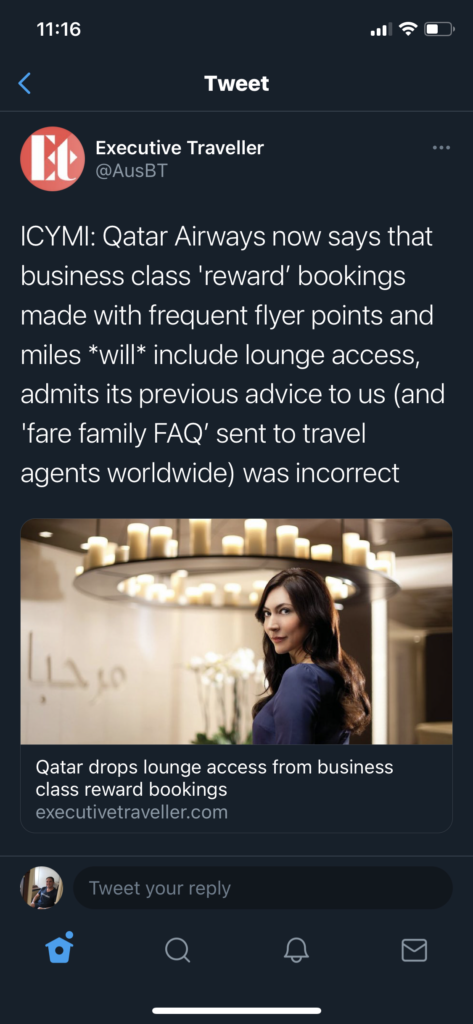 Qatar lounge access awards