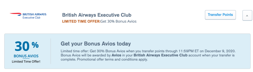 chase ultimate rewards avios transfer bonus