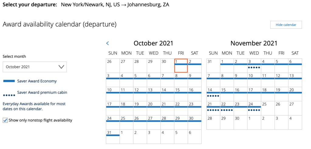 united ewr-jnb availability