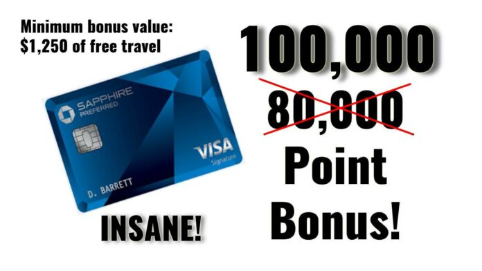 100,000 point offer chase sapphire preferred