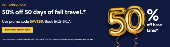 Southwest Airlines 50% off Sale