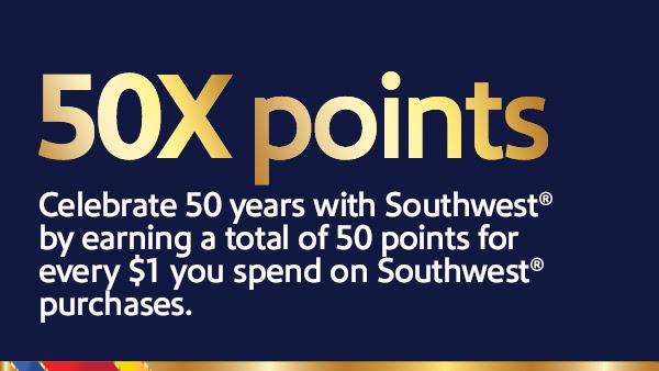 southwest 50x points