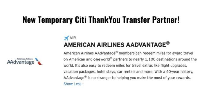 citi transfer thankyou american airlines aa aadvantage