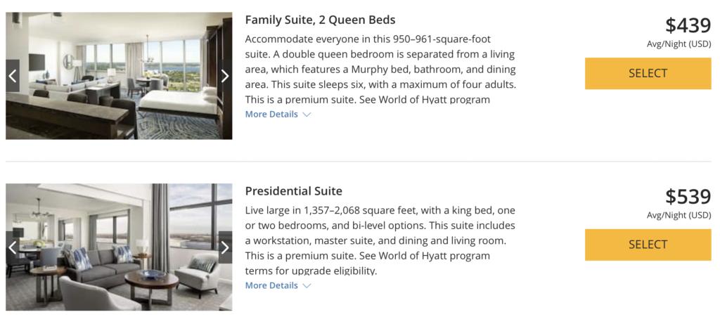 hyatt suite upgrade on paid rates