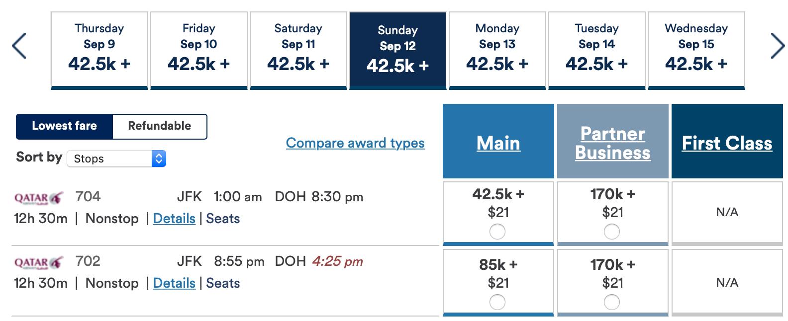 alaska airlines qatar awards