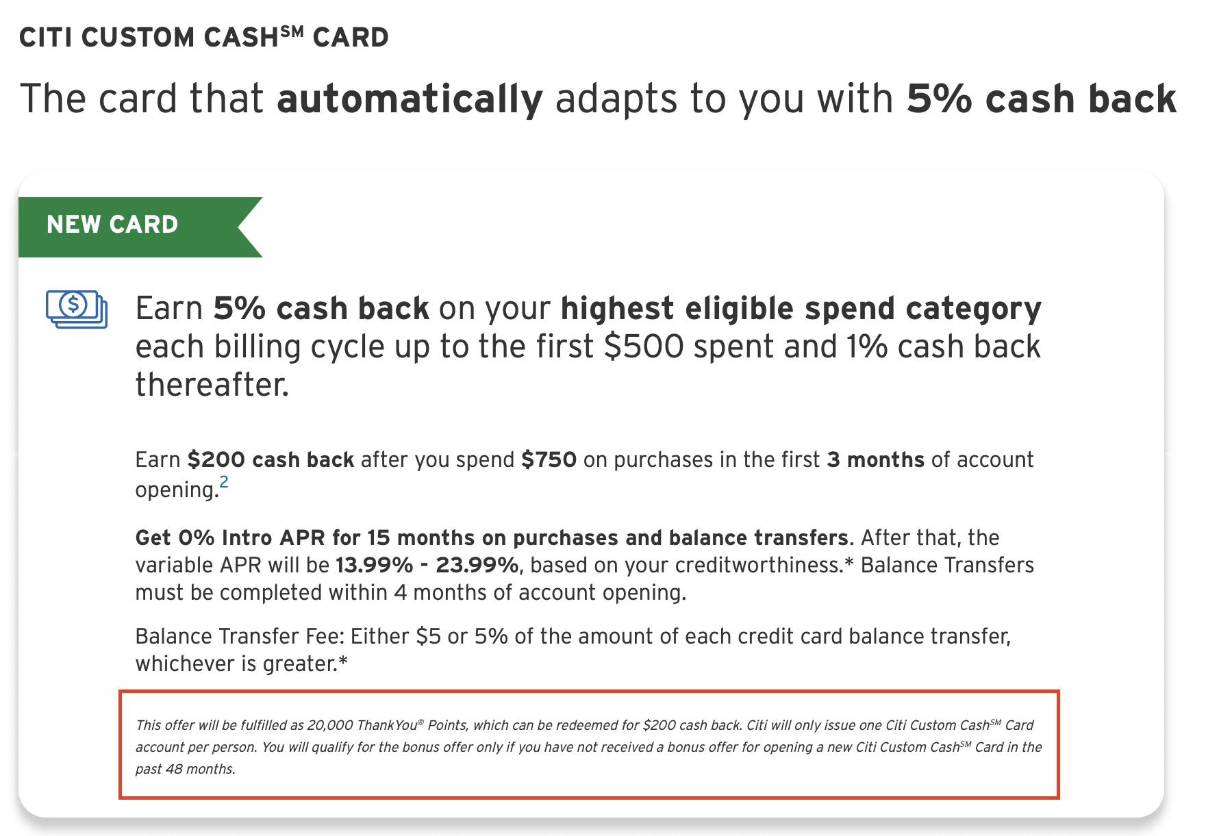 citi custom cash bonus rules