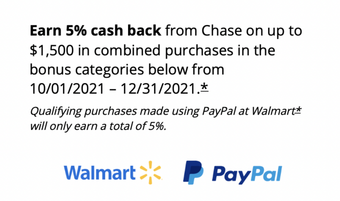 chase freedom bonus category paypal walmart
