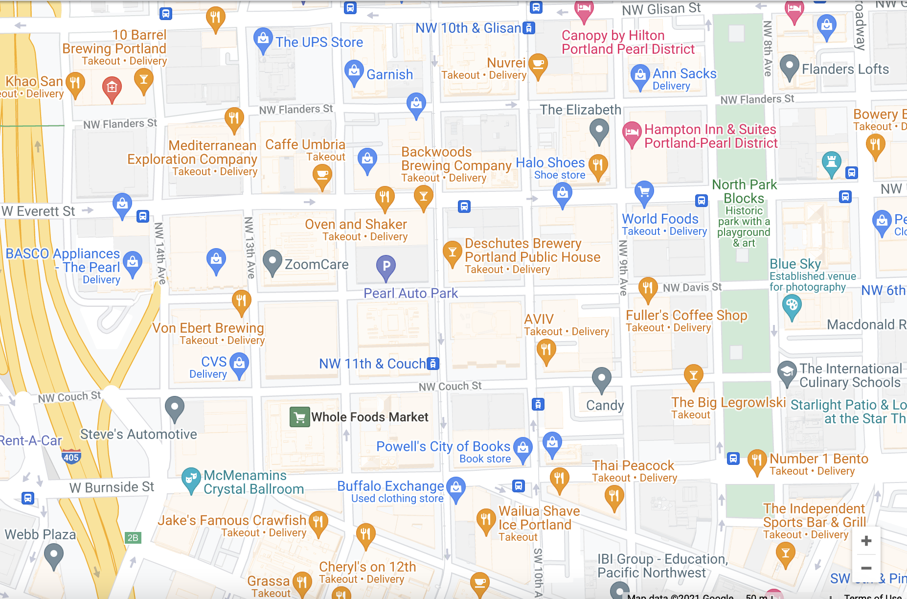 Map of the Pearl District, Portland
