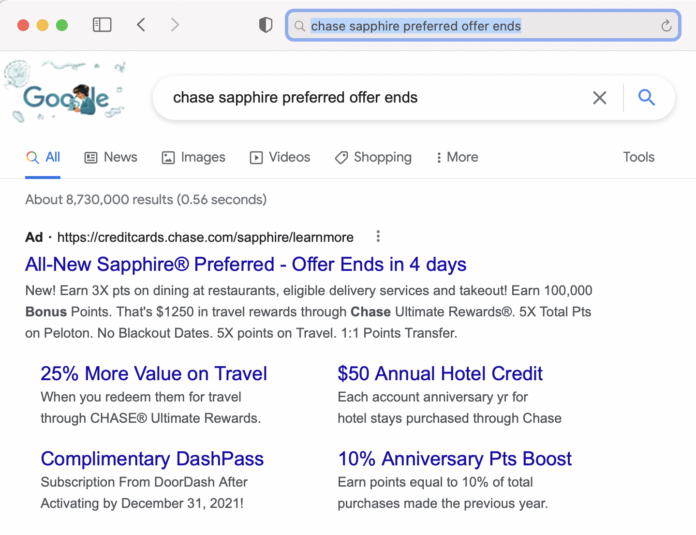 when is the chase sapphire preferred bonus ending